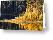 Water Reflection At Jade Lake In Northern Saskatchewan Greeting Card