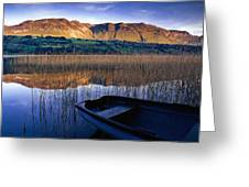 Water Reflections With Boat Greeting Card