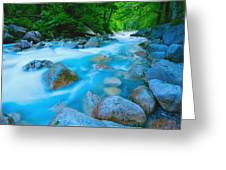 Water Rushing Through Rocks Greeting Card