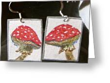 Watercolor Earrings Amanita Greeting Card