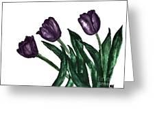 Watercolor Purple Tulips Greeting Card