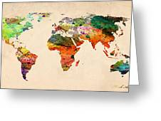 Watercolor World Map  Greeting Card