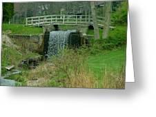 Waterfall And Bridge Greeting Card