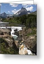 Waterfall At Many Glacier Greeting Card