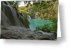 Waterfall At Plitvice National Park In Greeting Card