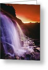 Waterfall At Sunset, Bugaboo Glacier Greeting Card