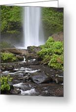 Waterfall In Gorge - Columbia River Gorge Greeting Card