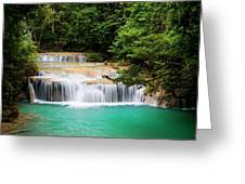 Waterfall In Tropical Forest Greeting Card
