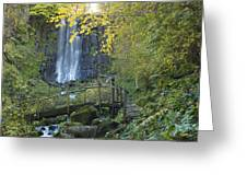 Waterfall Of Vaucoux. Puy De Dome. Auvergne. France Greeting Card