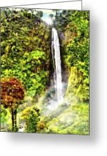 Waterfall Greeting Card by Vidka Art