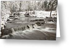 Waterfall With Fresh Snow Thunder Bay Greeting Card by Susan Dykstra