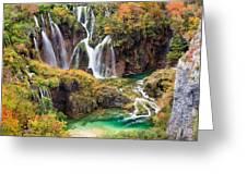 Waterfalls In Autumn Scenery Greeting Card