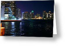 Waterfront By Night Greeting Card