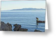 Waterfront Of Opatija Showing Statue Greeting Card