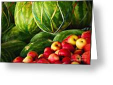 Watermellons And Apples Greeting Card by Elaine Manley