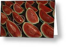 Watermelon Slices Sold At A Market Greeting Card by Todd Gipstein