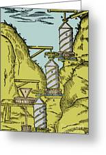 Watermill Reversed Archimedean Screw Greeting Card