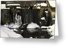 Waterwheel And Stream In Winter Greeting Card