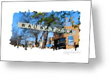 Wauwatosa Railroad Sign Greeting Card