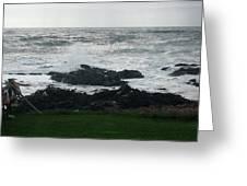 Wave Hitting Rock Greeting Card