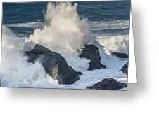 Wave Meets Seastack Greeting Card
