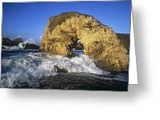 Wave Splashing Against Natural Arch Greeting Card