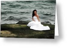 Waves And Rocks Greeting Card