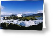 Waves Breaking Over Rocks, West Cork Greeting Card