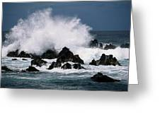 Waves Crash Against The Rocks In Great Greeting Card