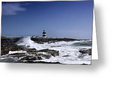 Waves Crash Against The Wexford Coast Greeting Card