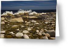Waves Hitting Rocks, Anchor Brook Greeting Card