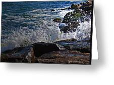 Waves Meet Jetty Greeting Card