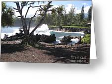 Waves On Rock Greeting Card