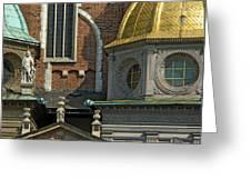Wawel Domes In Krakow Poland Greeting Card