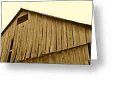 Weathered Barn II In Sepia Greeting Card