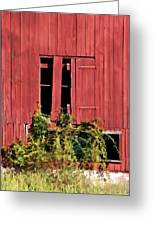Weathered Broken Red Barn Window Of New Jersey Greeting Card