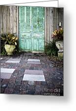 Weathered Green Door Greeting Card by Sam Bloomberg-rissman