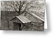 Weathered Hillside Barn Greeting Card
