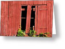 Weathered Red Barn Window Of New Jersey Greeting Card