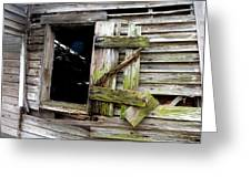 Weathered Wood Window Greeting Card