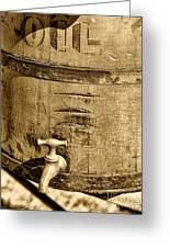 Weathered Wooden Bucket In Sepia Greeting Card