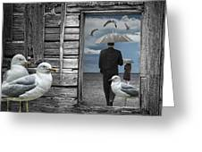 Weathering The Gulls Greeting Card