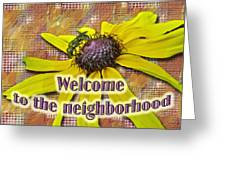 Welcome New Neighbor Card - Bee And Black-eyed Susan Greeting Card