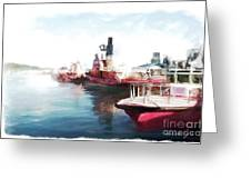 Wellington Harbour Tugs At Anchor Waterloo Quay Greeting Card