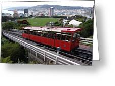 Tram Car Viewpoint - Wellington, New Zealand Greeting Card