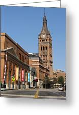 Wells Street Theater District And City Hall Greeting Card