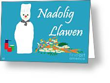 Welsh Snowman Chef Greeting Card
