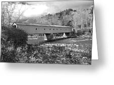 West Cornwall Connecticut Covered Bridge Black And White Greeting Card