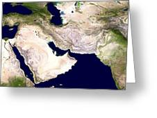 Western Asia, Satellite Image Greeting Card