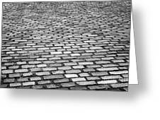 Wet Cobblestoned Huntly Street In The Union Street Area Of Aberdeen Scotland Uk Greeting Card